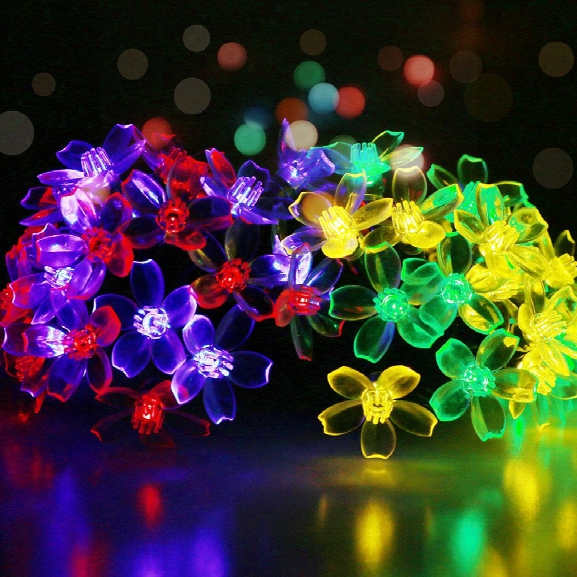 Gmy Lighting Imports 50 Led Multicolor Solar Flower Shaped Christmas String Lights Garden Holiday Party Decor