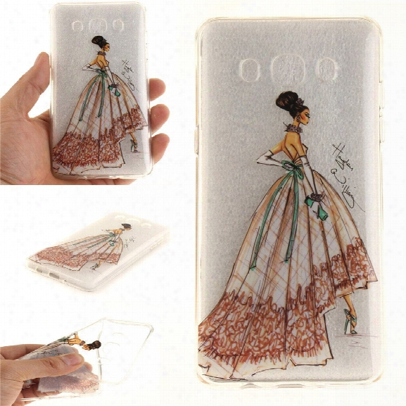 Hand-painted Dress Soft Clear Imd Tpu Phone Casing Mobile Smartphone Cover Shell Case For Samsung J510 2016