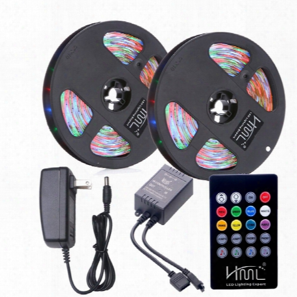 Hml 2pcs 5m Waterproof 24w Rgb 2835 300 Led Strip Light - Rgb With Ir 20 Keys Music Remote Control And Us Adapter