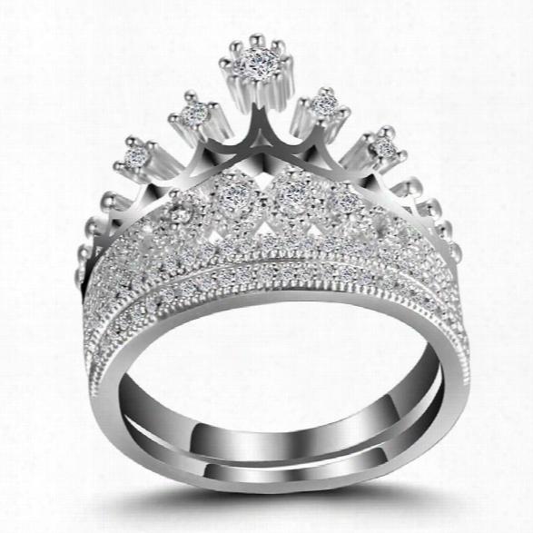 Jewelry 925 Sterling Silver Natural Gemstone White Sapphire Birthstone Bride Engagement Wedding Ring