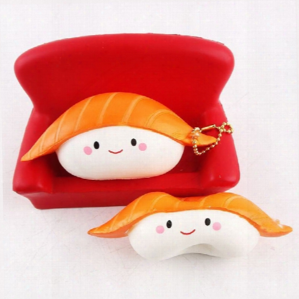 Kawaii Squishy Rice Ball Salmon Sushi Slow Rising Pendant Phone Straps Vividly Japan  Style Soft Keychain Kid Toy Gift