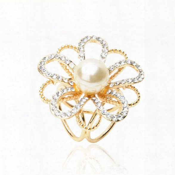 Korean Version Simple Flower Scarf Buckle Pearl Crystal Gold Scarf Ring Airline Stewardess Brooch Jewel