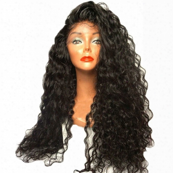 Long Loose Curl Hair Wigs Natural Black Color Synthetic Lace Front Wig With Baby Hair 24 Innch 26 Inch