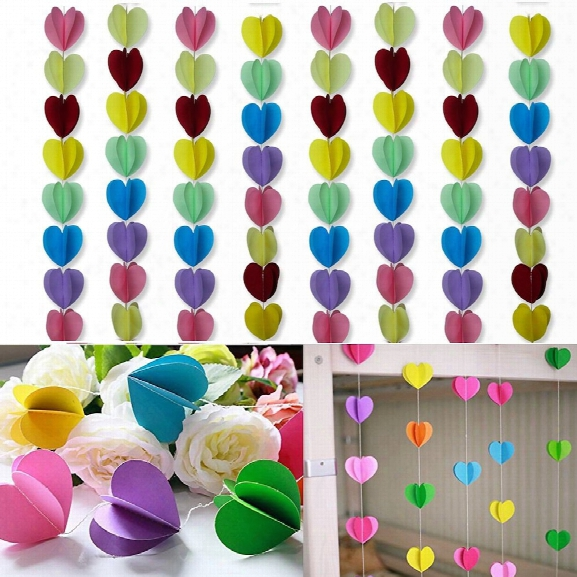 Long Sweet Heart Shaped Hanging Decoration String Paper Garland Wedding Birthday Party Baby Shower Background Decorativ