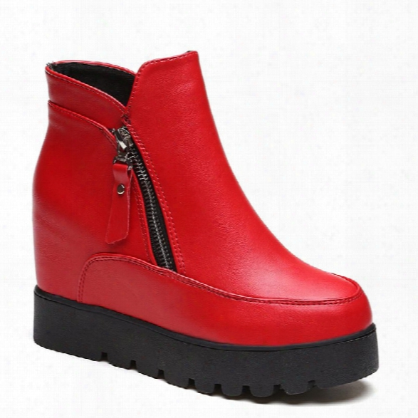 Lyk-c21 High Quality Shoe Comfort Fashion Side Zipper Pure Color Inside Increase Short Tube With Martin Boots