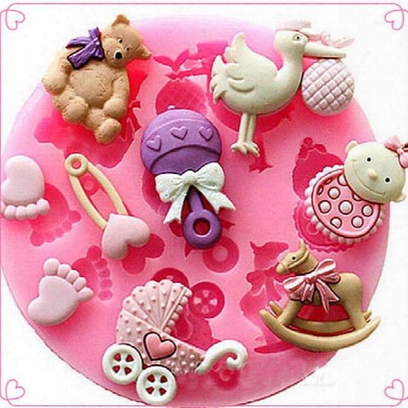 Mini Baby Bear Silicone Sugar Fondant Cake Mold Stroller Trojan Shape Chocolate Cookies Diy Bakeware Cake Decoratio