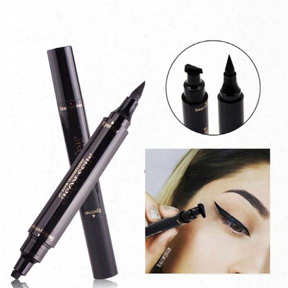 Miss Rose Brand E Yes Liner Liquid Make Up Pencil Waterproof Black Double-ended Makeup Stamps Eyeliner Pencil