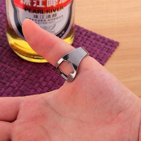 Multifunction Silver Ring Bottle Opener Stainless Steel Finger Ring Bottle Opener Beer Bar Tools Kitchen Accessories
