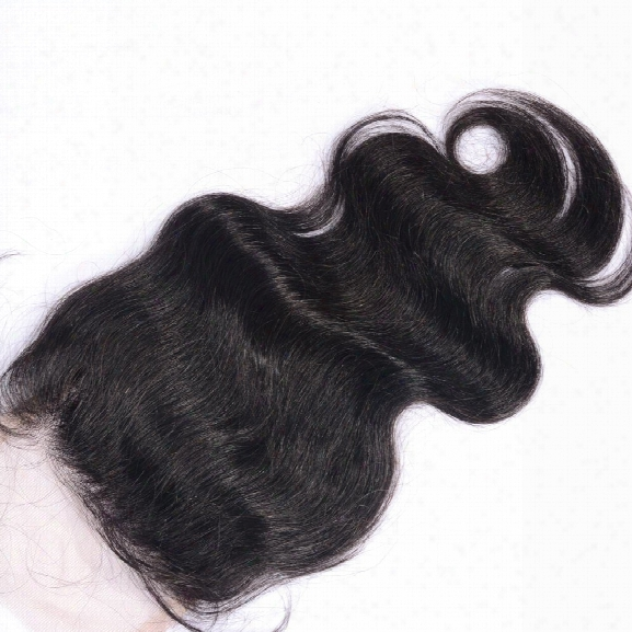 Natural Hairline Virgin Brazilian Body Wave Human Hair Lace Closure With Baby Hair Natural Black Bleached Knots Closures