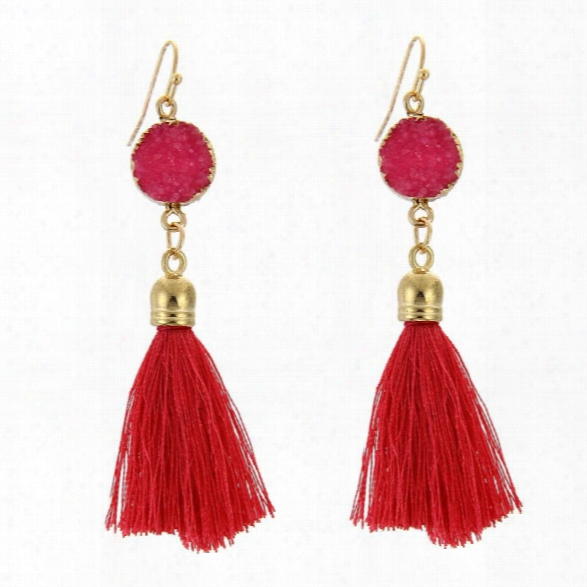 Nature Stone Charm Vintage Classic Medieval Euorpean Style Rhinestone Rong Pendant Exquisite Drop Tassels Earrings