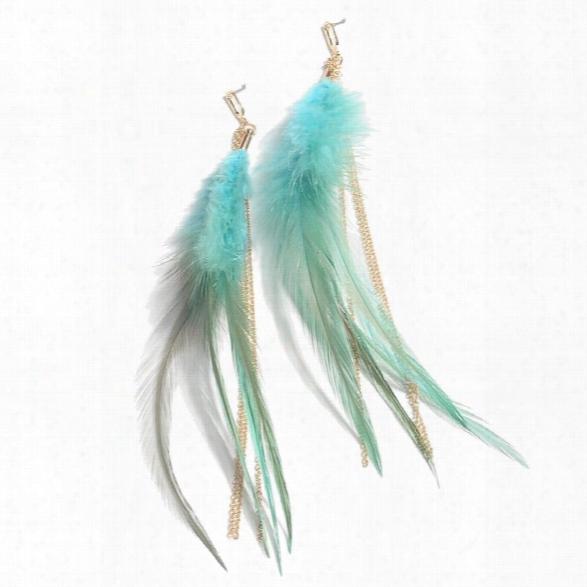 New Arrival Leaf Bohemian Alloy Ethnic Jewelry Feather Earrings Black Blue Women Brincos Long Earrings Female