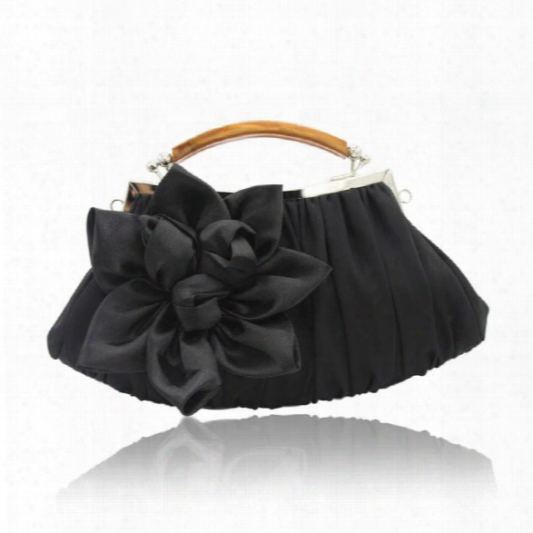 New Arrival Solid Bag Hold Party Top Solid Bag Hasp Wristlets Women Diamond Satin Flower Evening Tote