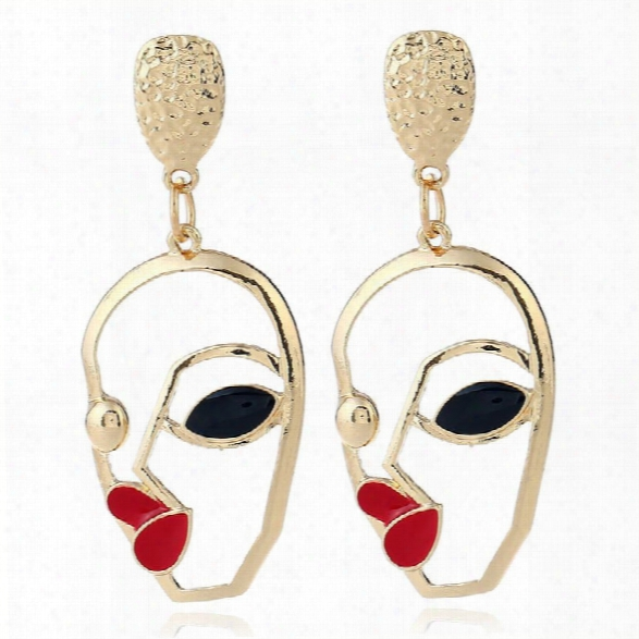 New Fashion Jewelry Cute Romantic Tremdy Style Modern Girl Metal Hollow Face Charm Drop Earrings For Women