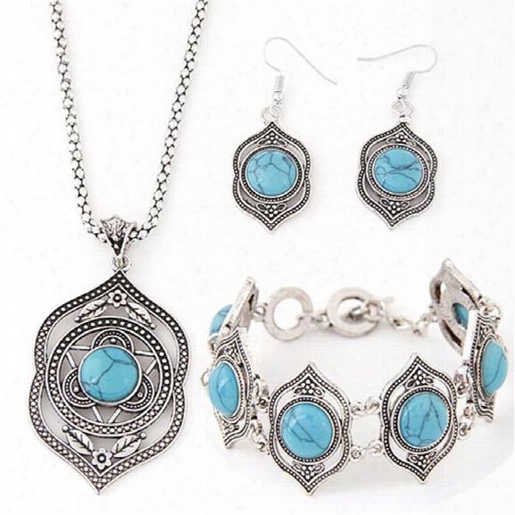 New Trendy Fashion Charm Retro Style Hollow Tibetan Sliver Green Rimous Turquoise Bib Collar Earrings Necklace Bracelets