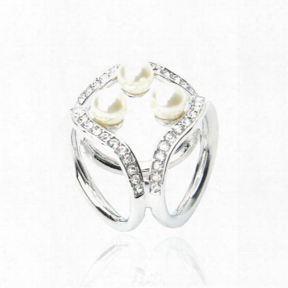 Newest Korean Three Pearl Crystal Ring Square S Fashion Wild Ladies Scarf Buckle Shoulder Clasp Accessories