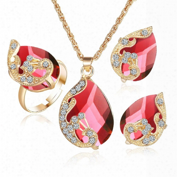 Noble Crystal Wing Water Droplets Necklace Earring Ring Set Popular Fshion Elegant Beautiful Pendant Necklaces Earrings