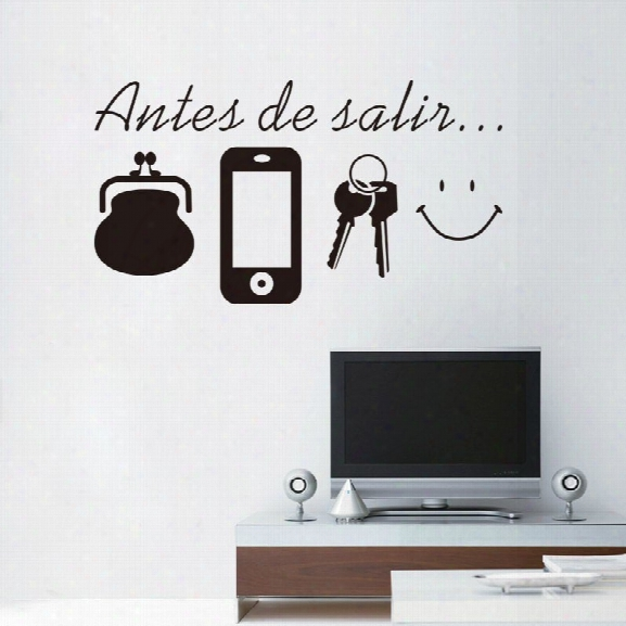 Phone Keys Wallet Spanish Vinyl Wall Stickers Spain Language Wall Decals Mural Espanol Laugh Face Home Decor Outdoor