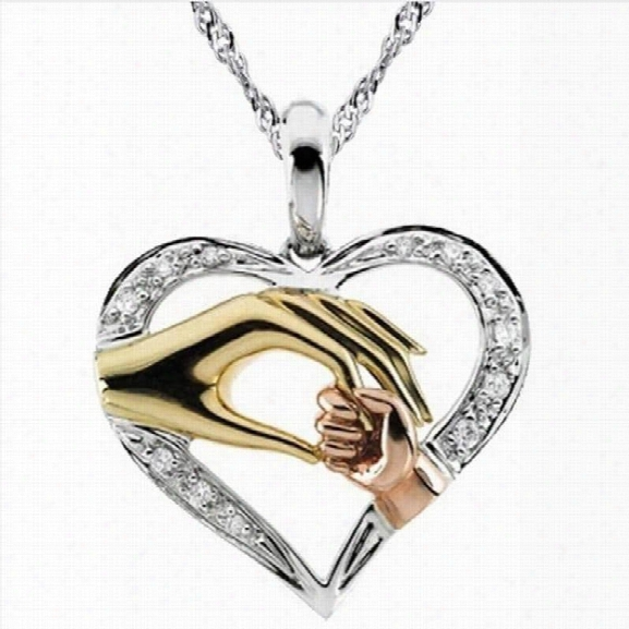 """Real Pure Sterling Silver """"mother And Child Hand In Hand"""" Pendant Necklace Gift For Mother Daughter Sister Gra"""
