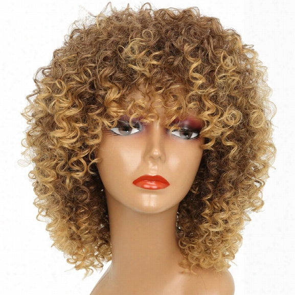 Short Kinky Curly Hair Hot Heat-resistant Synthetic Golden Blonde Mixed Color Wig For African Americcan Women