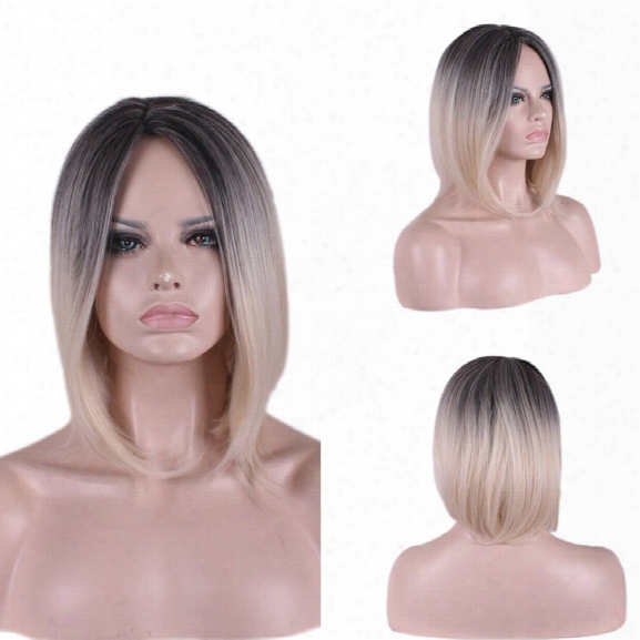 Short Straight Hair Gradient Brown High Density Temperature Synthetic Wigs For Black White Women Cosplay Wig
