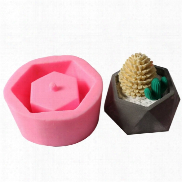Silicone Concrete Molds Home Decoration Geometric Pentagon Mould Candle Holder Mold Candlestick Multi Flower Pots Cement