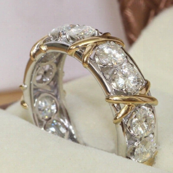 So Sparkling ! 925 Solid Sterling Silver Natural Gemstone White Sapphire Diamond Eternity Stackable Band Ring Wedding En