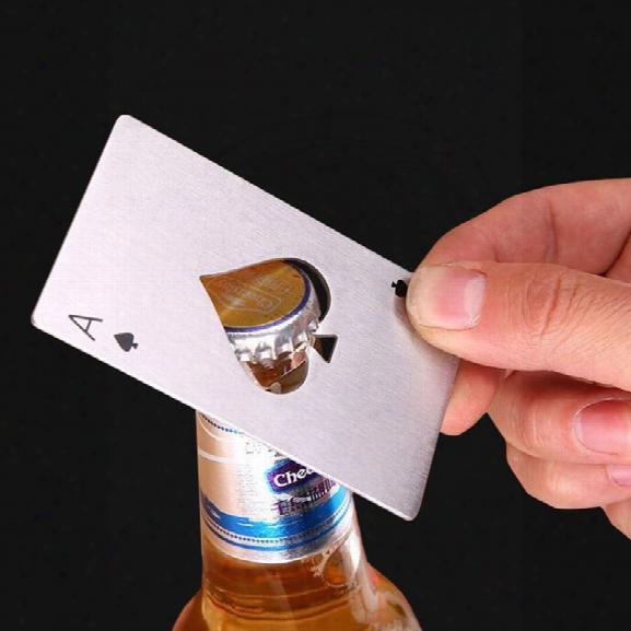 Stainless Steel Poke Card Bottle Opener Fashional Creative Spades Ace Shape Elegant Beer Opener For Ktv Kitchen Bar Too