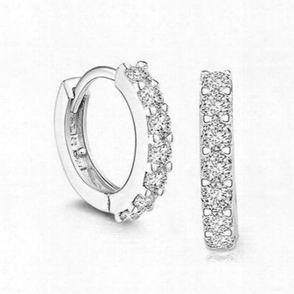 Sterling Silver Zircon Stone Hoop Earrings For Women Classic Earrings For Women Sterling Silver Jewelry Ewh