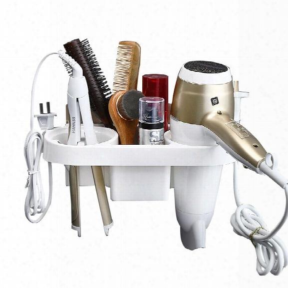 Storage Rack Plastic Hair Dryer Holder Bathroom Wall Storage Rack Electric Plywood Comb Hair Straightener Holder