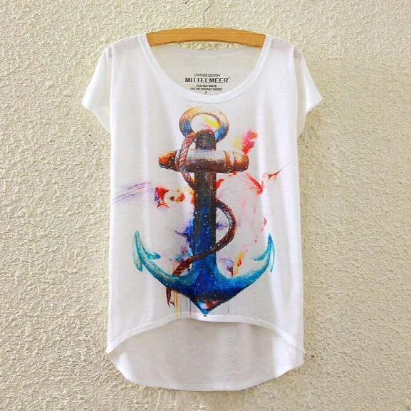 Summer New Graphic Digital Print Short T Shirt Blouse Loose Ladies White T-shirt Short Sleeve Cotton Blended Tops Outwea