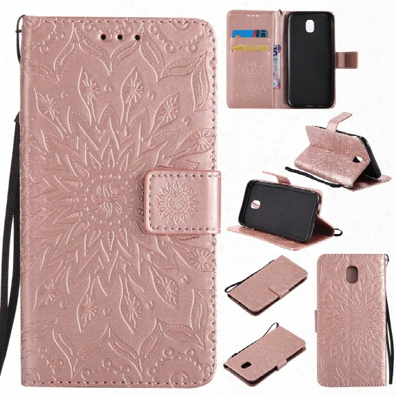 Sun Floower Printing Design Pu Leather Flip Wallet Lanyard Protective Case For Samsung Galaxy J5 Pro 2017 J530 (european