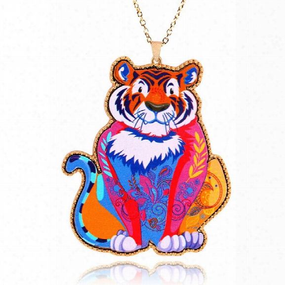 The Latest Arrival Trendy Brand Design Acrylic Jewelry Tiger Pendant Necklace Woman Girl Fashion Accessories