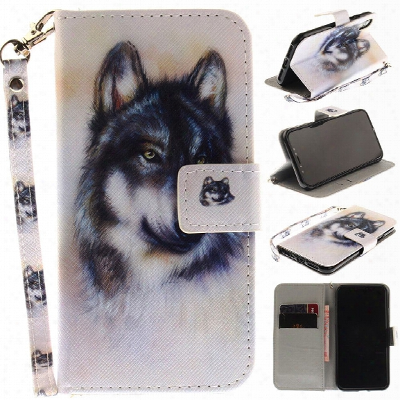 The Wolf Pattern Wrist Strap Premium Flip Wallet Protective Case [card Slots] Pu+tpu Leather Folio Magnetic Closure Stan