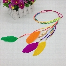 Europe and The United States Popular Feather Hair Ornament Chain Braided Feather Headband Headset Color Feather Leaf Pen