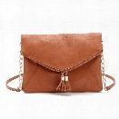 Women Messenger Bag Tassel Fold Cover Sling Girl Shoulder Crossbody Bag Envelope Bolsas Ladies Handbag Clutches