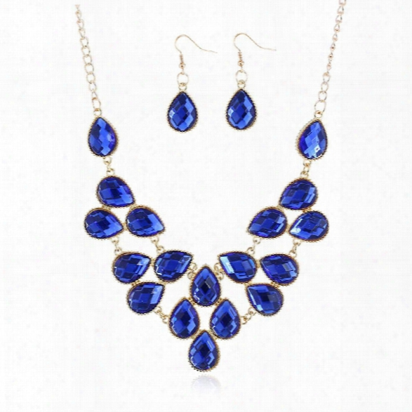 Top Pendants Necklace Set For Women Exquisite Rhinestone Pendant Necklace Fashion Big Crystal Carpet Collar Jewelry