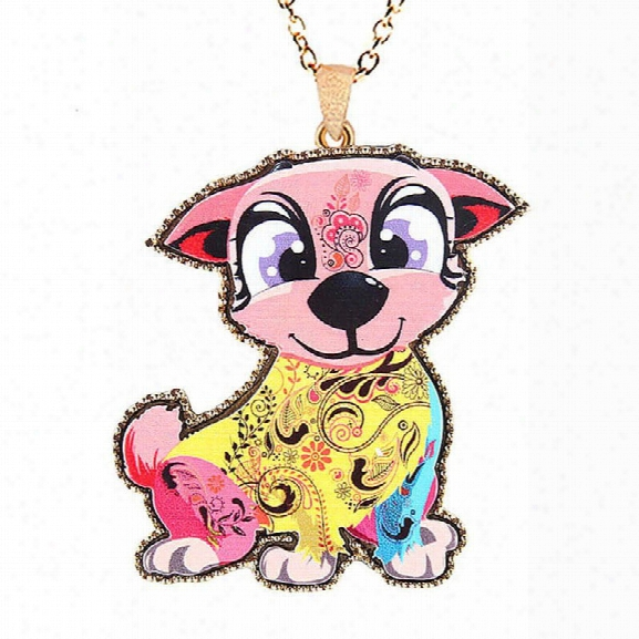 Trendy Fashion Jewelry Coloured Drawing Pattern Romantic Cartoon Puppy Anial Adorable Dog Necklaces Gifts For Women