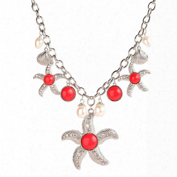Trendy Marine Style Items Choker Cool Pearl Shell Starfish Pendant Link Chaib Alloy Necklace Youth Fashion Jewelry