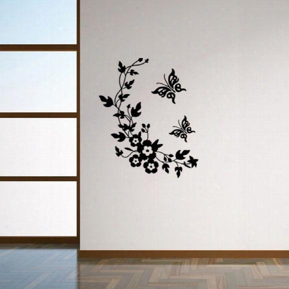 Vine Flower Vinyl Removable Wall Sticker Toilet Sticker Butterfly Floral Decals Washroom Sticker Home Decor