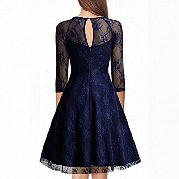 Vintage 50s 60s 2017 Women O Neck Slim Sexy Sheer A-line Pin Up Rockabilly Solid 3/4 Sleeve A-line Fashion Lace Dress