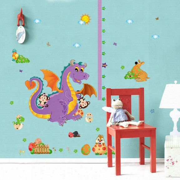 Wall Stickers Manufacturers Selling Sk9101 Cartoon Dinosaur Height Children Room Decorative Wall Stickers Affixed To The