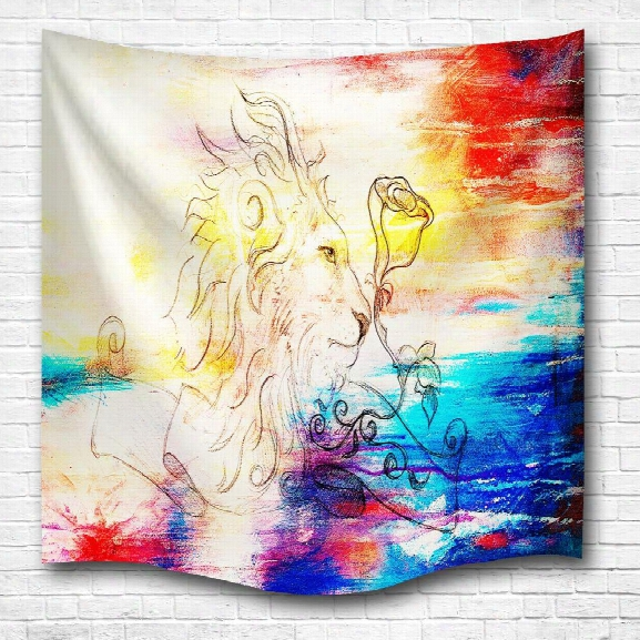 Watercolor Lion 3d Digital Printing Home Wall Hanging Nature Art Fabric Tapestry For Bedroom Living Room Decorations