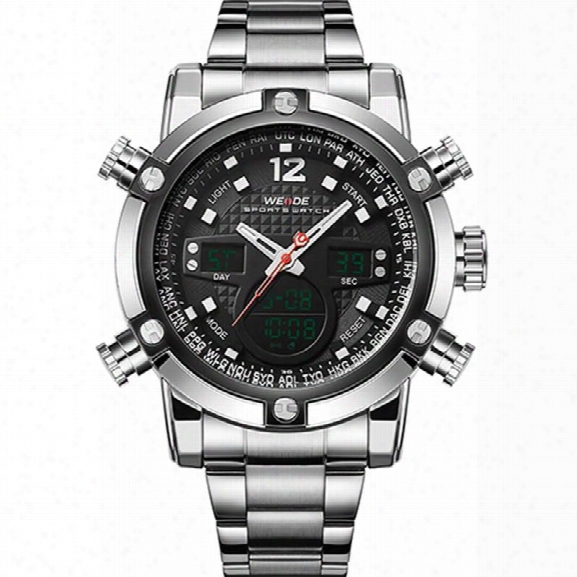 Weide 2 Time  Zones Men Sport Water Resistant 3atm Men's Quartz Movement Military Original Weide Sports W Atches For Men
