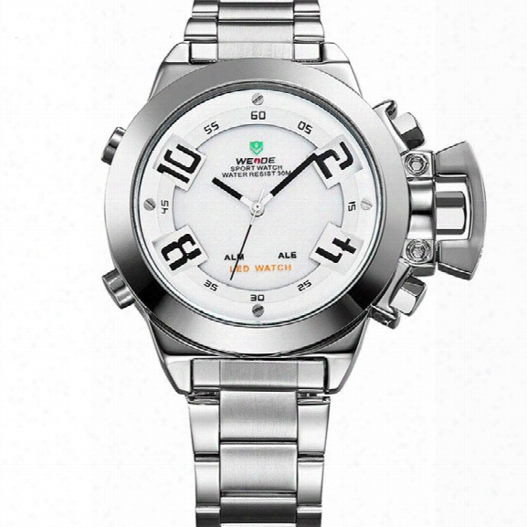 Weidemens Silver Stainless Steel Watch Special Fashion Sports Led Analog Quartz Digital Display Causal Watch