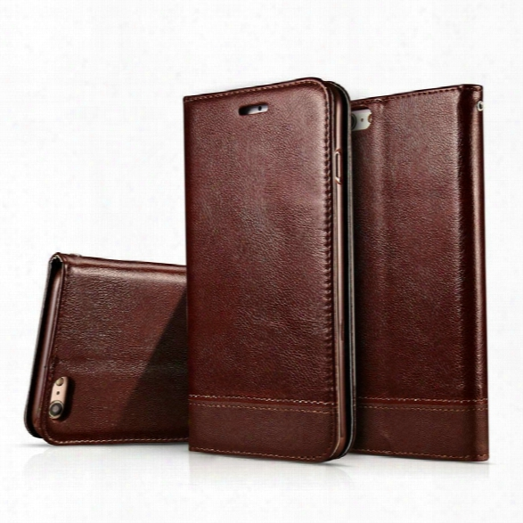 Wkae Luxury Mixed Stitching Style Double Side Magnetic Closure Ultra Slim Premiium Leather Case With Kickstand Card Slots
