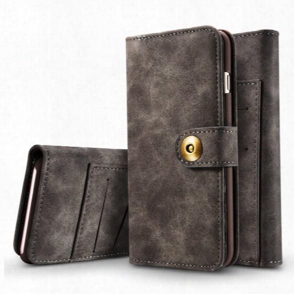 Wkae Retro Style Detachable Magnetic Leather Case Cover With Large Capity Card Cash Slots Secure Rivet Buckle For Iphone