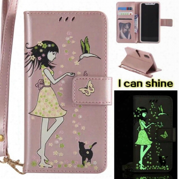 Wkae Retro Style Luminous Effect Embossed Fairy Girl Leather Case With Card Slots Lanyard For Iphone X