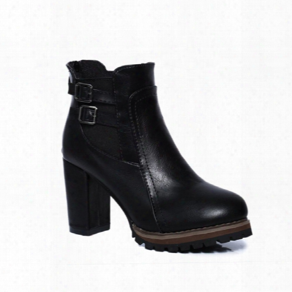 Women Winter Fashion Sexy Pu Ankle Roman Martin Zipper Buckle Boots Waterproof Block Thick High Heel Shoes