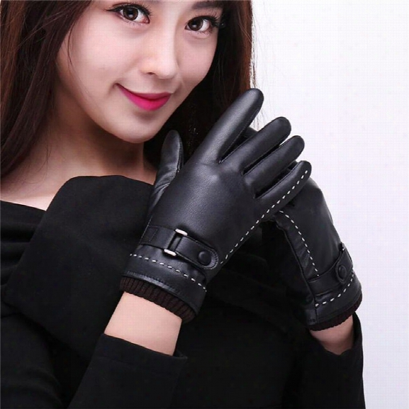 Women's Pu Leather Gloves Fashion Brand Real Sheepskin Touch Screen Gloves Button Winter Warm Mittens Kp015