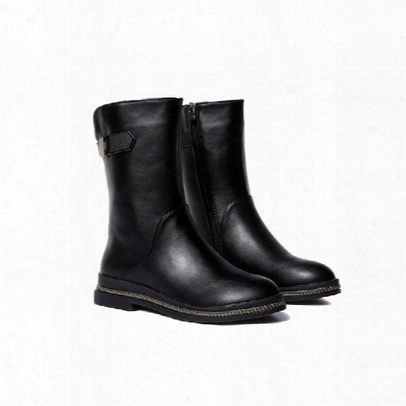 Ws001 Winter With Cotton Warmth And Antiskid Sole Comfortable Fashion Pure Color Medium Martin Boots